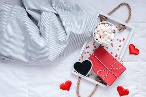 Romantic breakfast in bed. Valentine