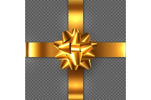 Realistic glossy golden bow with