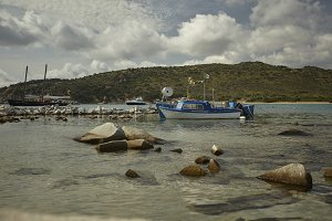Fishing boats moored in the natural