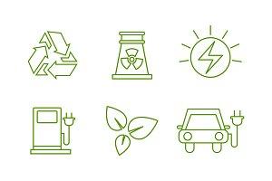 Eco energy line icons set, green