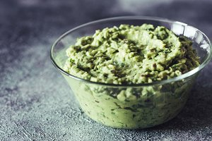 Guacamole in the glass bowl