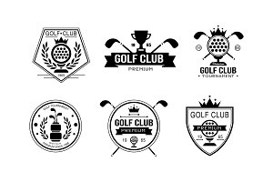 Golf club premium logo, golfing