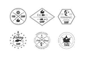Fishing camp logo, wildlife, travel