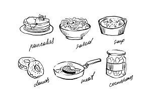 Traditional food set, pancakes