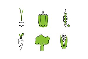 Fresh vegetables line icons set