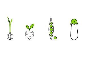 Fresh vegetables line icons set