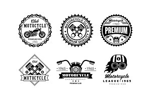 Motorcycle club logo set, retro