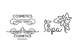 Cosmetic, spa linear logo template