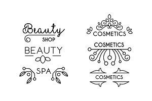 Cosmetic, beauty, spa linear logo