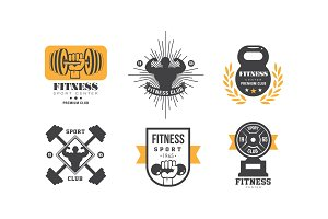 Fitness club logo design set, retro