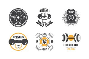 Fitness club vintage logo set