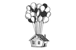 House is flying on air balloons