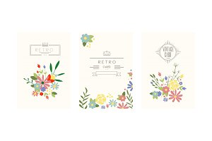 Retro cards with garden flowers