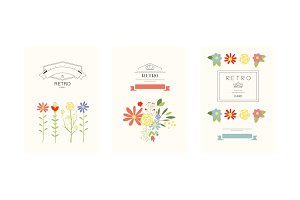 Retro cards with flowers set