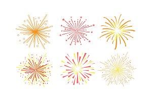 Colorful fireworks set, design