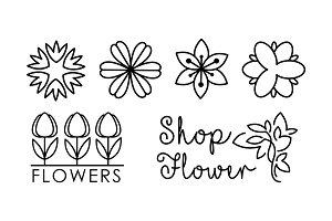 Flower shop linear logo set, floral