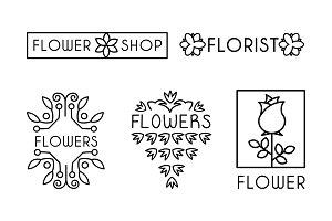 Flower shop logo set, design