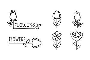 Flowers linear logo set, floral