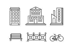 City street elements set, urban