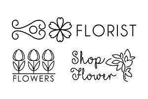 Flower shop linear logo, floral