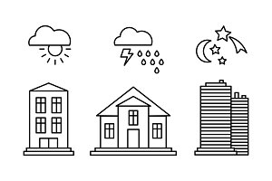 City buildings and with weather
