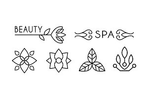 Beauty and spa logo design, linear