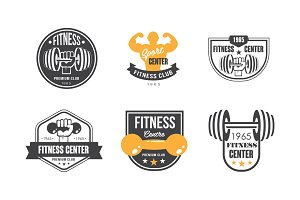 Fitness center logo design set
