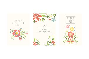 Retro cards set, design element