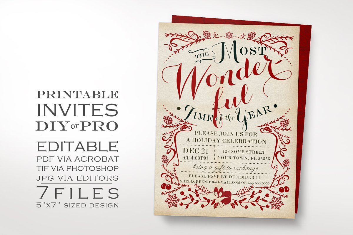 Christmas Invitation Template Winter | Creative Invitation ...