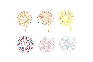 Brightly colorful fireworks set