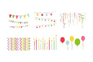 Birthday party symbols set