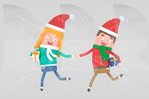 Christmas Young couple running