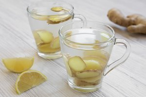 Two mugs of homemade ginger tea