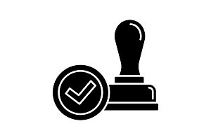 Stamp approved glyph icon