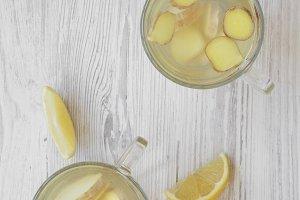 Homemade ginger tea with lemon