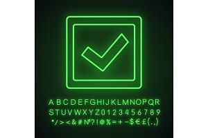 Checkbox neon light icon