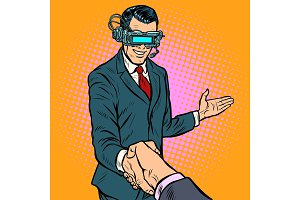 businessman shaking hands in virtual
