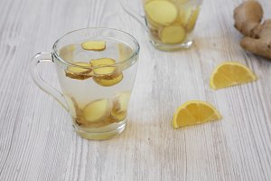 Homemade ginger tea with lemon