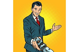 businessman shaking hands with robot