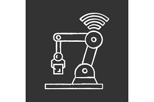 IoT robot chalk icon