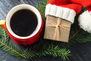 Red hot coffee mug and gift in Santa