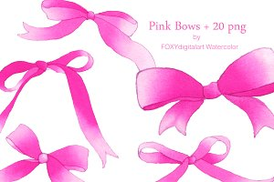 Watercolor Pink Bow Ribbon Clipart