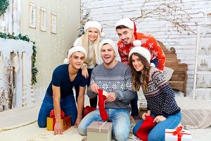 A group of friends with gifts at a