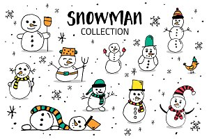 Snowman Hand draw collection