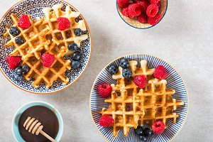 Traditional homemade belgian waffles