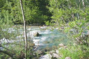Fast flowing river in the middle of