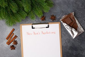 Close up Blank paper with new year's
