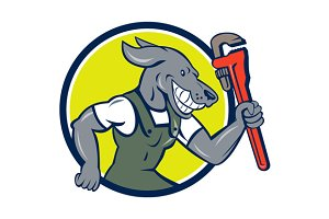 Dog Plumber Running Monkey Wrench Ci