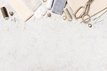 Background with sewing accessories