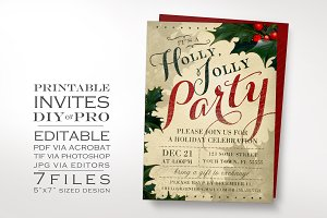 Vintage Christmas Invitation Holly